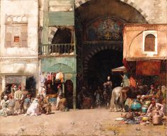 'The Bazaar', Oil by Alberto Pasini (1826-1899, Italy)