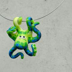 Hand made polymer clay GREEN cute octopus pendant by Twiggynkaa, £12.00
