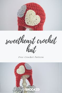 Crochet sweet heart hat. Click through for the free pattern! #BHooked #Crochet #FreeCrochetPattern