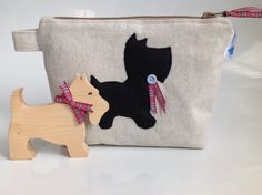 Linen Look Fabric Cosmetic Purse with Scottie Dog & by sewmoira
