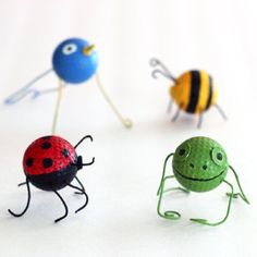 Ladybugs, frogs bumblebees, birds! Made from recycled golf balls, this is a fun Earth Day craft for kids.