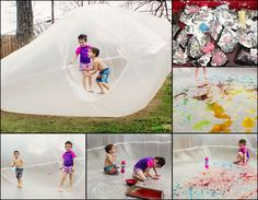 """This is our backyard bubble. [ made with plastic sheeting taped together & a fan to blow it up.]  The kids took shaving cream, food coloring, bubbles, water, & chalk in there. Lots of fun!"" (just pic, no more info)"
