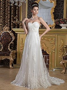 Empire Cut Tulle Wedding Dress with Beading Details and Lace Hem - USD $259.99