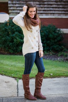 """Wear this ivory beauty around town for the perfect fall day look! The gold polka dots add just the right amount of shine and the fit can't be beat, no siree! Material has generous amount of stretch. Haylee is wearing the size small. Sizes fit: Small- 0-4; Medium- 6; Large- 8-10 Length from shoulder to hem: S- 29""""; M- 30""""; L- 31""""."""