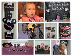"""Minnie Mouse Party: Lots of fun! Cupcakes were topped with regular and bite size Oreos and pink bow, Black circles and bow glued to black plates, Mickey and Minnie ears were headbands wrapped in black fabric with foam """"ears"""" and ribbon for bows, Minnie's Bow-tique full of bite size candy bars wrapped in bows."""