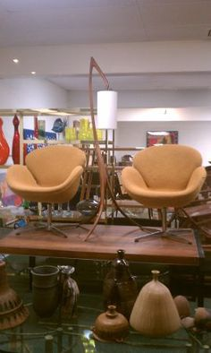 mid century modern Swan Chairs Vintage