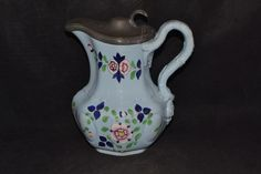 Antique Staffordshire Blue syrup pitcher with pewter lid