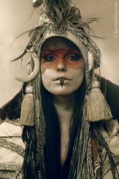 Witches Idea #2 - Really love the grim, heavy makeup and the varied textural quality of the headdress. Should look as ominious as her prophecy!