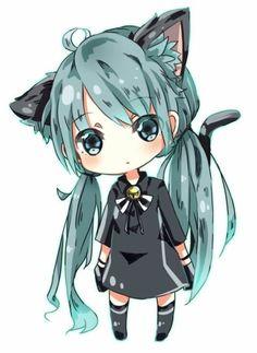 Neko Hatsune Miku chibi and aww she is way to freaking cute Chibi Neko, Dibujos Anime Chibi, Chibi Girl, Cute Anime Chibi, Kawaii Chibi, Anime Neko, Manga Anime, Neko Neko, Hetalia Anime