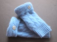Fingerless Gloves Cashmere Blue Many colors and styles available by ArtisanFeltStudio on Etsy