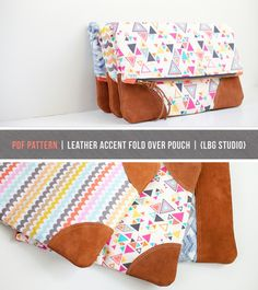 PDF Sewing Pattern Leather Accent Fold Over Pouch by LBGstudio. I have a FQ or two of the triangle fabric! Pdf Sewing Patterns, Sewing Tutorials, Sewing Hacks, Sewing Projects, Bag Patterns, Diy Pochette, Clutch Pattern, Diy Couture, Leather Gifts