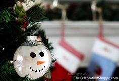 DIY Christmas Ornament: Paint Dipped Snowman