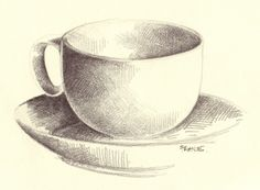 Drawing Techniques wagonized: Ellipses - More ellipses, more reasons to feel blah about a drawing and not finish. And still post it. B pencil in sketchbook. Drawing Cup, Object Drawing, Sketchbook Drawings, Pencil Art Drawings, 3d Drawing Techniques, Typography Sketch, Illusion Drawings, Coffee Cup Art, Geometric Drawing