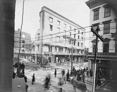 Delavan House, fire ruins, present site Union Station, Columbia & Broadway, Albany, NY c 1894