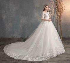 Plus Size Wedding Gowns, Long Wedding Dresses, Cheap Wedding Dress, Lace Wedding, Old Fashioned Wedding Dresses, Wedding Crowns, Wedding White, Spring Wedding, Half Sleeve Wedding Dress