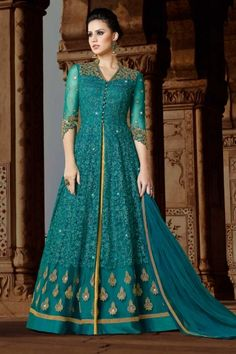 #Pakistani #Wedding #Dresses -  Turquoise Blue Net Anarkali Suit With Dupatta - DMV15323