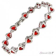 Armband Herzilein vergoldet mit Rubinen rot  im Etui