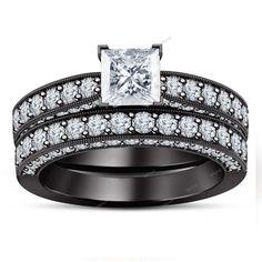 V & Surface Prong Setting 3.81 Carat Princess Diamond 925 Silver Bridal Ring…