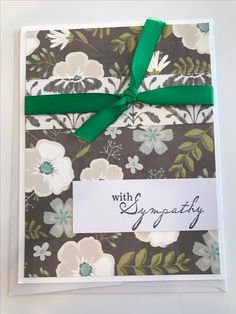 Floral background, green ribbon sympathy card.....Card Creations by Cindy C3 Original