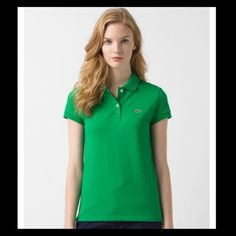 Lacoste green polo Excellent condition!  Purchased from another posher but didn't realize its a size bigger than I normally wear. :(. Love this color! Lacoste Tops
