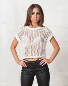 MINKPINK WHITE TIED UP CROP TOP | High neckline, short sleeves, all over crochet style with a boxy fit | available on www.shopfashtique.com