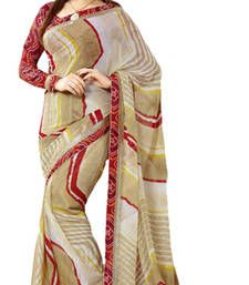 Buy multicolor printed polyester saree with blouse bandhani-sarees-bandhej online