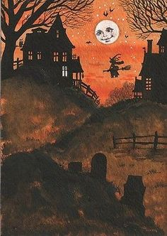 ACEO PRINT OF FOLK ART PAINTING VINTAGE STYLE RYTA WITCH BLACK CAT HALLOWEEN JOL