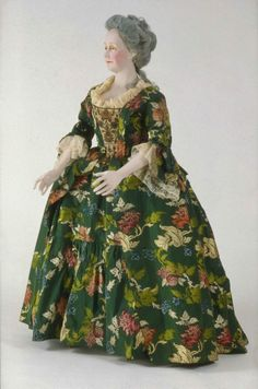 Dress, American (Boston, MA); fabric English, about 1735, restyled 1763