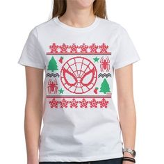 Spider-Man Ugly Christmas Women's Favorite Tee by Marvel - CafePress Man Shirt, Tee Design, Being Ugly, Color Combinations, Adobe Illustrator, Spiderman, Marvel, Tees, Christmas