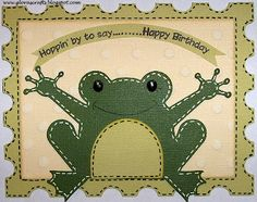 card base comes from the Create a Critter cartridge sized at x The background rectangle was hand cut at x This frog came from the Paisley Cricut cartridge, cut at (trimmed off his crown) Cricut Birthday Cards, Cricut Cards, Handmade Birthday Cards, Stampin Up Cards, Handmade Cards, Peachy Keen Stamps, Create A Critter, Tim Holtz Distress Ink, Kids Cards