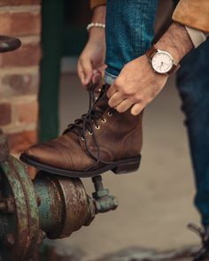 Denim Boots, Lace Up Boots, Men's Shoes, Shoe Boots, Mens Boots Fashion, Walking Boots, Goodyear Welt, Mens Caps, Leather Gloves