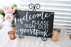 Wedding Welcome Sign With Easel Hand Painted Slate Please Sign Our Guestbook Sign Chalkboard Wedding Welcome Guest book Sign with Easel