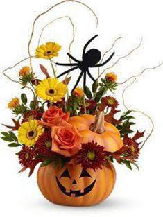 I love this flower arrangement for Halloween. Halloween Flower Arrangements, Pumpkin Arrangements, Halloween Flowers, Halloween Magic, Fall Floral Arrangements, Pumpkin Centerpieces, Diy Halloween Decorations, Halloween Pumpkins, Fall Halloween