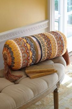 Rambagh Bolster Pillow from Soft Surroundings Luxury Duvet Covers, Luxury Bedding, Persian Decor, Indian Interiors, Matching Bedding And Curtains, Bolster Pillow, Sewing Pillows, Soft Surroundings, Linen Bedding