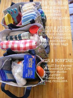 """Have a """"go bag"""" for different events in the family closet. I'd have a pool bag, picnic bag, & a hiking backpack."""