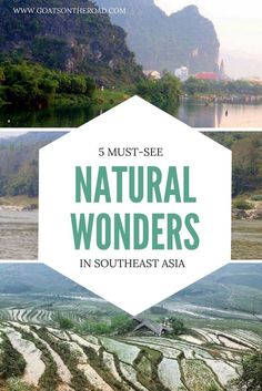5 Must-See Natural Wonders in Southeast Asia | SE Asia Travel | Best Places to Visit in SE Asia | Pho Nha Caves | Sapa Rice Fields | Kuang Si Waterfalls | Mekong River | Laos | Vietnam | Singapore National Parks
