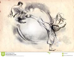 Karate - Hand Drawn (calligraphic) Illustration Stock Vector ...