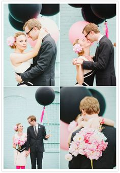 romantic pink and black engagement portraits