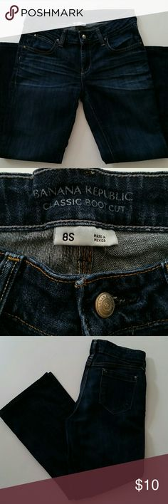 """Banana Republic Classic Bootcut Jeans, Size 8S Banana Republic classic bootcut jeans l. Size 8S (~26"""" inseam). They have been professionally hemmed. Good condition. Machine wash cold, tumble dry medium. Worn in. Banana Republic Jeans Boot Cut"""