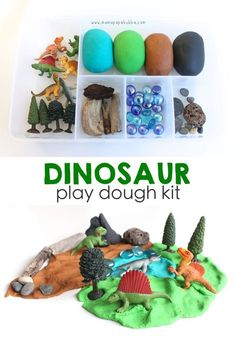 So fun for a dinosaur unit or a just because rainy day activity. A dinosaur play dough kit. A perfect gift for a little dino lover or ready-made activity for at home! Playdough Activities, Dinosaur Activities, Dinosaur Crafts, Toddler Activities, School Holiday Activities, Dinosaur Party Favors, Vocabulary Activities, Play Doh Kits, Diy Play Doh