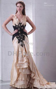 Wholesale Champange Black Wedding Dresses V-neck Mermaid Taffeta Lace Appliques Bridal Gown Real Actual Image, Free shipping, $166.6-171.36/Piece   DHgate