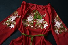 Red chiffon blouse embroidered ukrainian shirt with lilies Red Chiffon, Embroidered Blouse, Lilies, Machine Embroidery, Embroidery Designs, Ethnic, Shirts, Etsy, Clothes