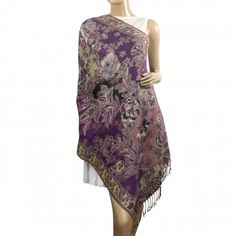 Rayon Metallic Paisley Flower Garden Jacquard Double-Sided Reversible Tassels Ends Long Scarf Shawl
