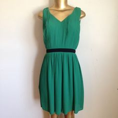 🌹👗👗BEAUTIFUL GREEN PLEATED DRESS👗👗🌹 Beautiful green pleated dress with black waist C. Luce Dresses