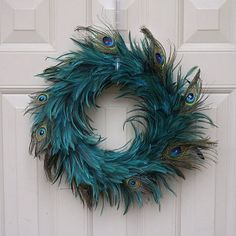 aqua turquoise-blue greenHackle-Peacock Eye Wreath - DKA/N/CPR