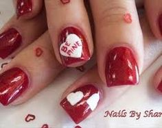 Be mine nail art for Valentine's day.