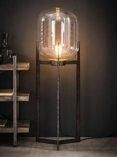 Retro table or floor lamp Bulb Industrial with metal glass Luminaire Design Pas Cher, Cool Lighting, Lighting Design, Diy Lampe, Verre Design, Industrial Floor Lamps, Mirror Lamp, Unique Wall Decor, Lamp Bulb