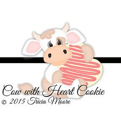 Cow with Heart Cookie