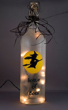 halloween painted wine bottles | Halloween Wine Bottle LIght Hand Painted Bottle of Boos Witch Flying ...