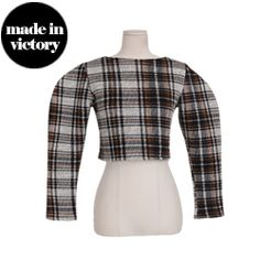Cropped Check Blouse